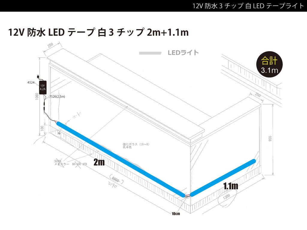 【参考価格】屋外取付け用テープライト例