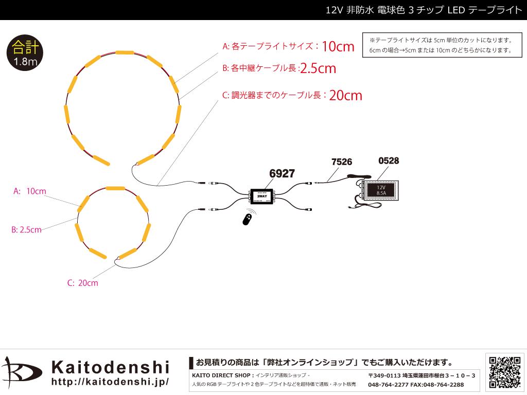 【参考価格】 非防水3チップ 電球色 LEDテープライト