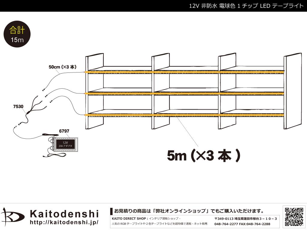 【参考価格】 非防水1チップ 電球色 LEDテープライト