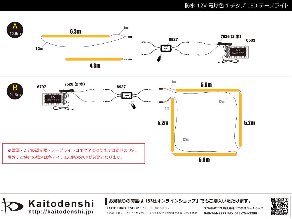 【参考価格】 防水1チップ 電球色 LEDテープライト